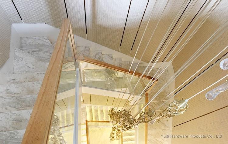 大理石踏板玻璃护栏实木扶手直梁楼梯