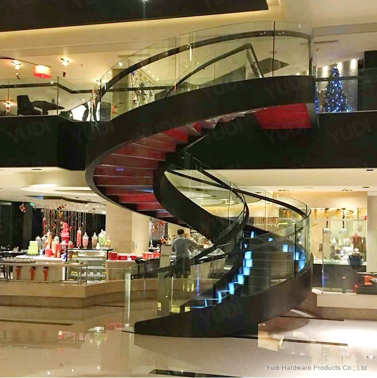 商业广场旋转楼梯 钢板楼梯