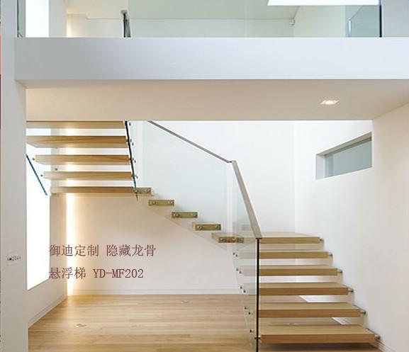 隐藏龙骨悬浮楼梯  专业楼梯制造厂家 木悬浮楼梯订制