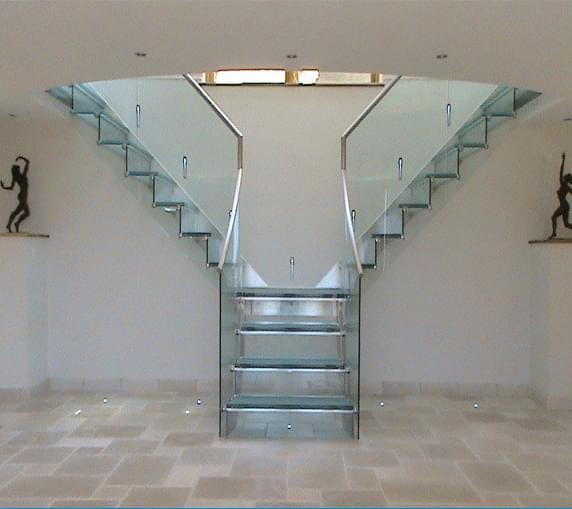 两跑不锈钢玻璃楼梯YD-LPGBZ102,