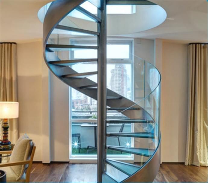 室内、室外不锈钢玻璃旋转楼梯