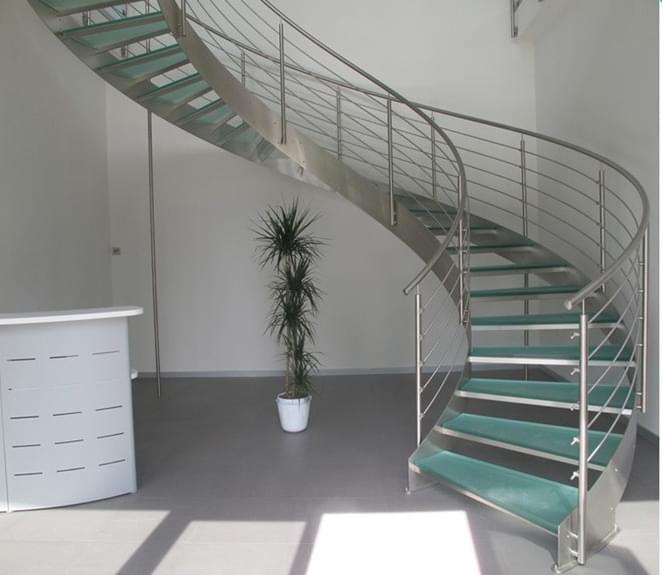 室内不锈钢玻璃弧形梯,YD-GBH61