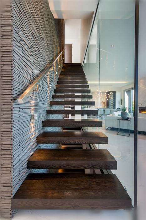 优雅色系实木悬浮楼梯,YD-MF203