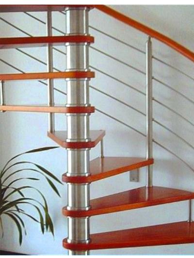 红色踏板不锈钢旋转楼梯,yd-gmx34-2