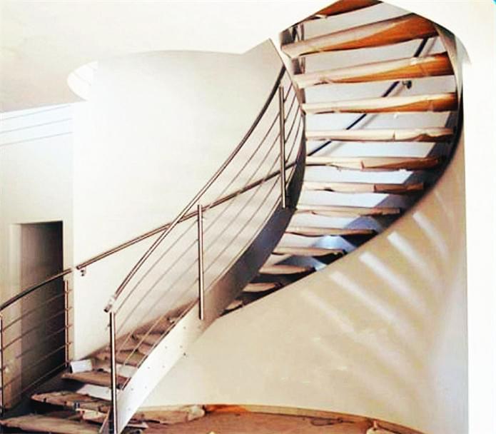 钢木弧形楼梯,防滑钢木楼梯YD-GMH61