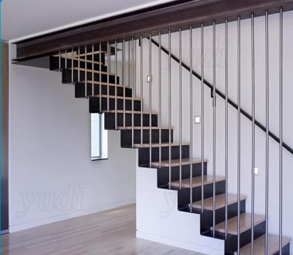 佛山御迪楼梯  不锈钢实木踏板直楼梯  钢木楼梯