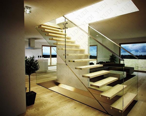 无立柱木悬浮梯,高档别墅原木色悬浮梯,YD-MF209