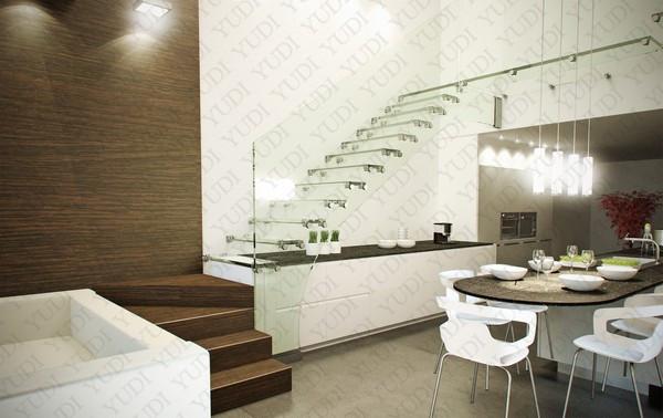 复式楼悬浮楼梯,玻璃悬浮楼梯,YD-BF504