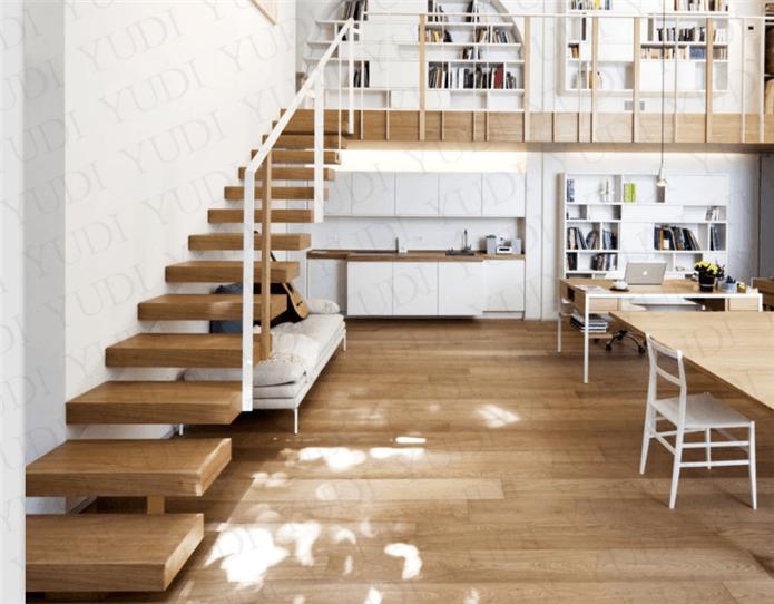 家居装修不锈钢护栏,悬浮木楼梯,YD-MF211