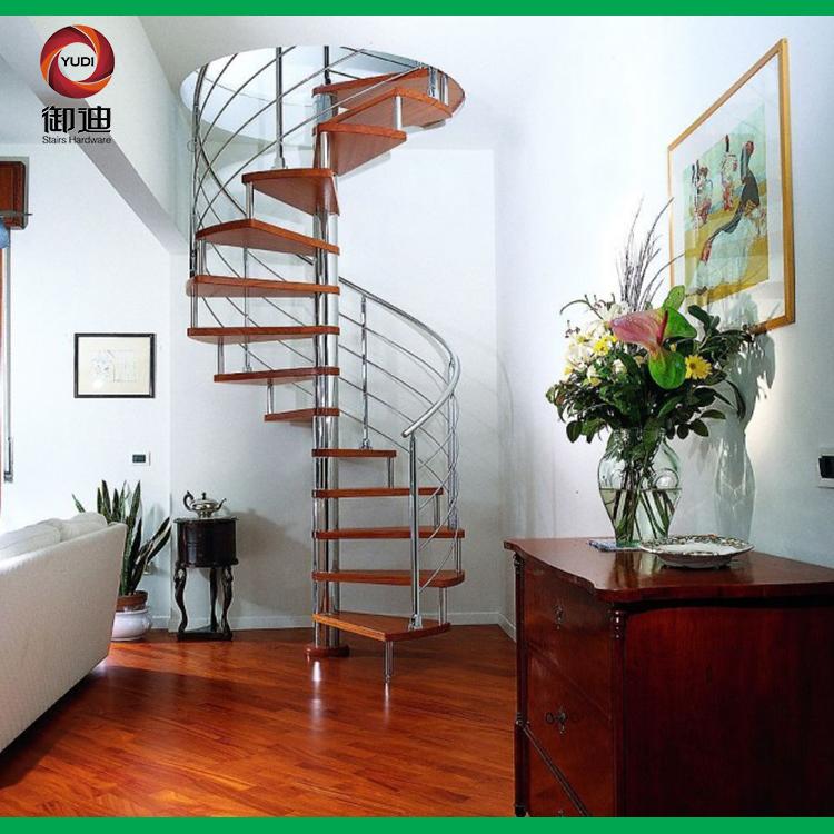 钢木旋转梯,不锈钢旋转楼梯,YD-GMX021