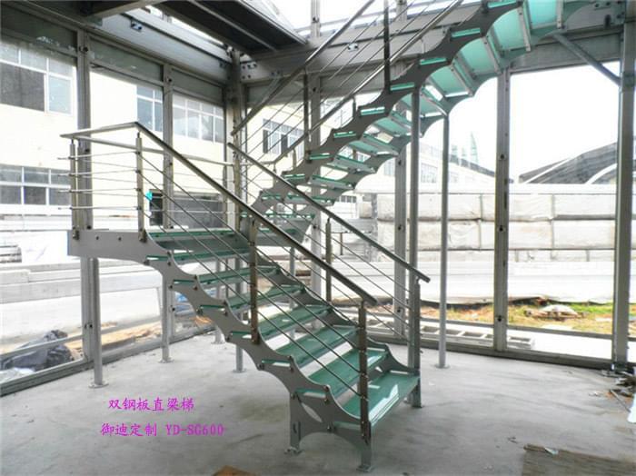 直梁楼梯 双钢板直梁楼梯 定制厂家 广东直梁楼梯订制